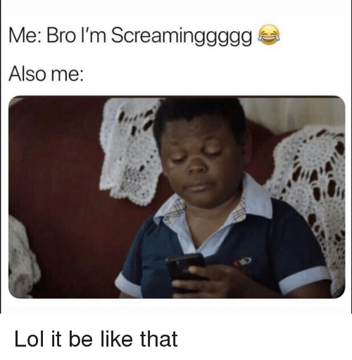 Be Like, Funny, and Lol: Me: Bro l'm Screaminggggg  Also me Lol it be like that