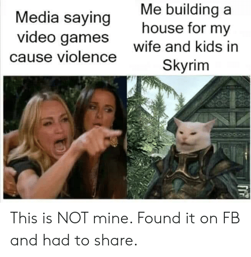 Skyrim, Video Games, and Games: Me building a  house for my  Media saying  video games  wife and kids in  cause violence  Skyrim This is NOT mine. Found it on FB and had to share.