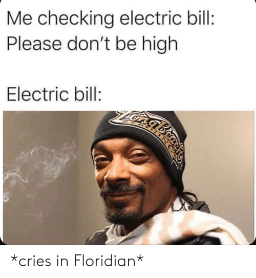Bill, Please, and High: Me checking electric bill:  Please don't be high  Electric bill:  gbio *cries in Floridian*