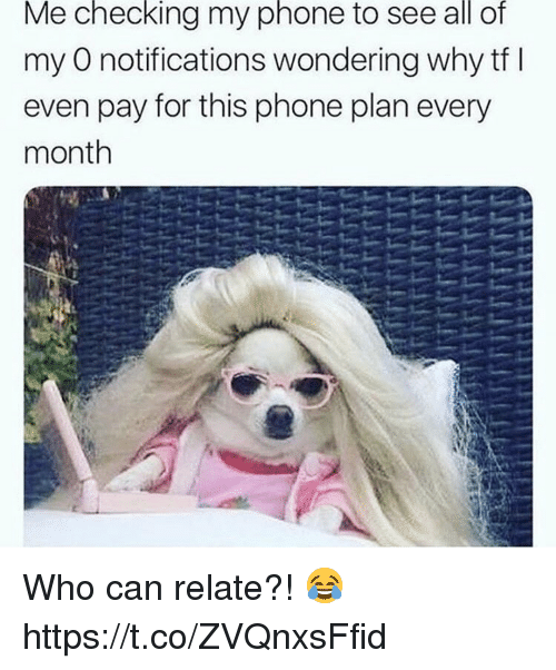 Phone, Who, and Can: Me checking my phone to see all of  my O notifications wondering why tf I  even pay for this phone plan every  month Who can relate?! 😂 https://t.co/ZVQnxsFfid
