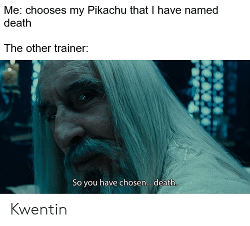 Pikachu, Death, and Chosen: Me: chooses my Pikachu that I have named  death  The other trainer:  So you have chosen.... death. Kwentin