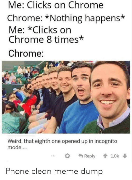 Incognito Mode: Me: Clicks on Chrome  Chrome: *Nothing happens*  Me: *Clicks on  Chrome 8 times*  Chrome:  Weird, that eighth one opened up in incognito  mode....  1.0k  Reply Phone clean meme dump