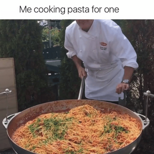 Pasta, One, and For: Me cooking pasta for one