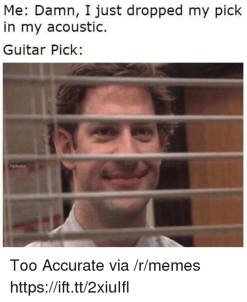 Memes, Guitar, and Via: Me: Damn, I just dropped my pick  in my acoustic.  Guitar Pick: Too Accurate via /r/memes https://ift.tt/2xiuIfl