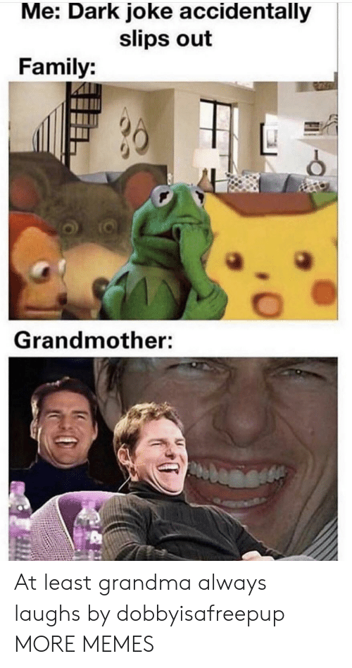 Dank, Family, and Grandma: Me: Dark joke accidentally  slips out  Family:  Grandmother: At least grandma always laughs by dobbyisafreepup MORE MEMES