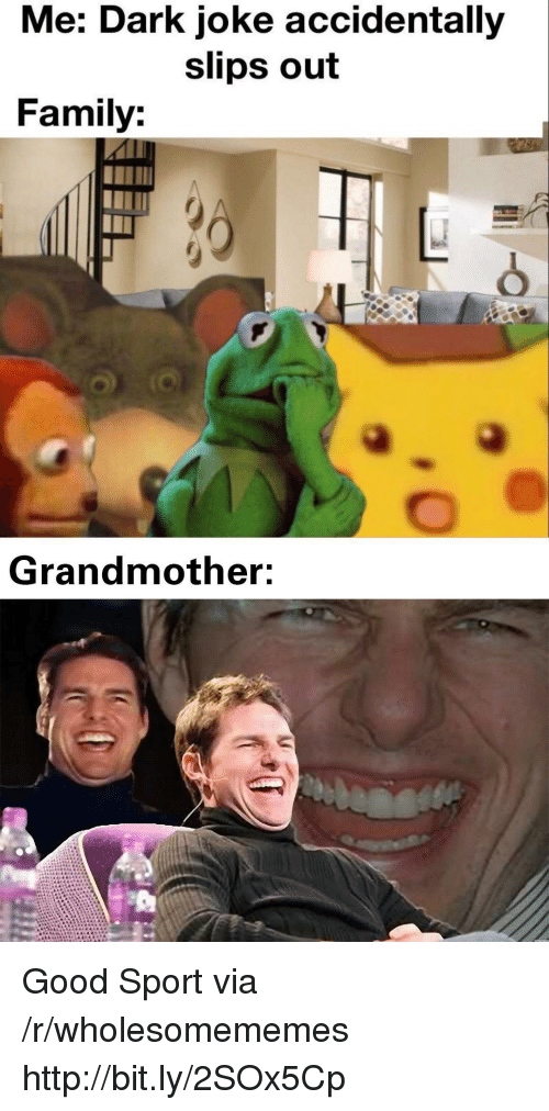Family, Good, and Http: Me: Dark joke accidentally  slips out  Family:  Grandmother: Good Sport via /r/wholesomememes http://bit.ly/2SOx5Cp