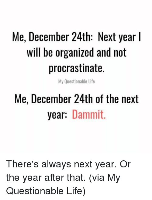 organized: Me, December 24th: Next year l  will be organized and not  procrastinate.  My Questionable Life  Me, December 24th of the next  year: Dammit. There's always next year. Or the year after that.  (via My Questionable Life)