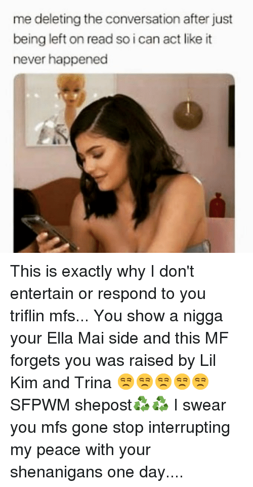 Lil Kim, Memes, and Shenanigans: me deleting the conversation after just  being left on read so i can act like it  never happened This is exactly why I don't entertain or respond to you triflin mfs... You show a nigga your Ella Mai side and this MF forgets you was raised by Lil Kim and Trina 😒😒😒😒😒 SFPWM shepost♻♻ I swear you mfs gone stop interrupting my peace with your shenanigans one day....