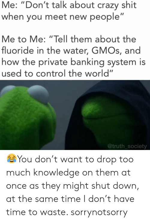 """New People: Me: """"Don't talk about crazy shit  when you meet new people  Me to Me: """"Tell them about the  fluoride in the water, GMOs, and  how the private banking system is  used to control the world""""  @truth_society 😂You don't want to drop too much knowledge on them at once as they might shut down, at the same time I don't have time to waste. sorrynotsorry"""