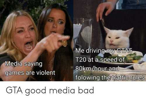 Bad, Driving, and Traffic: Me driving my GTAS  T20 at a speed of  80km/hour and  folowing the traffic rules  Media saying  games are violent GTA good media bad