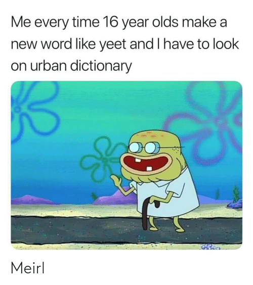 To Look: Me every time 16 year olds make a  new word like yeet and I have to look  on urban dictionary Meirl
