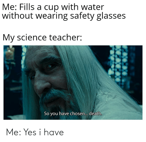 Safety: Me: Fills a cup with water  without wearing safety glasses  My science teacher:  So you have chosen.. death. Me: Yes i have