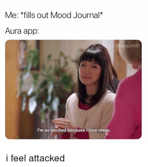 Love, Mood, and Girl Memes: Me: *fills out Mood Journal*  Aura app:  oegunn90  I'm so excited because I love mess i feel attacked