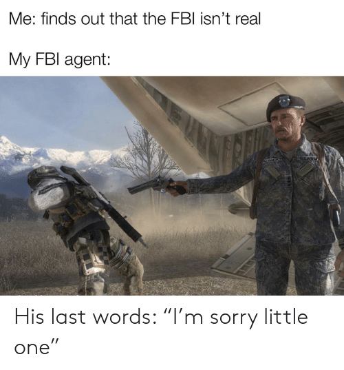 """Fbi, Sorry, and Dank Memes: Me: finds out that the FBI isn't real  My FBI agent:  USARM  EPHERD His last words: """"I'm sorry little one"""""""