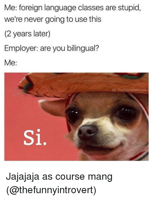 Funnyes: Me: foreign language classes are stupid,  we're never going to use this  (2 years later)  Employer: are you bilingual?  Me  IG: The Funny Introvert Jajajaja as course mang (@thefunnyintrovert)