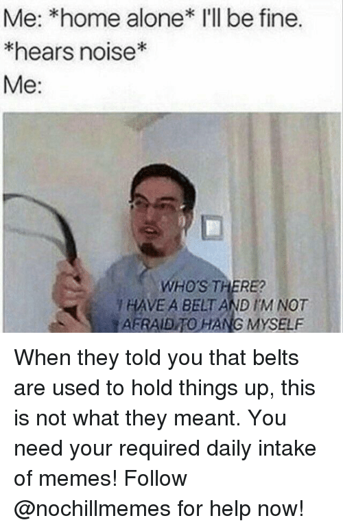Being Alone, Home Alone, and Memes: Me: *home alone* I'll be fine.  hears noise*  Me:  WHO'S THERE  HAVE A BELT AND IM NOT  AFRAIDTO HANG MYSELF When they told you that belts are used to hold things up, this is not what they meant.You need your required daily intake of memes! Follow @nochillmemes for help now!