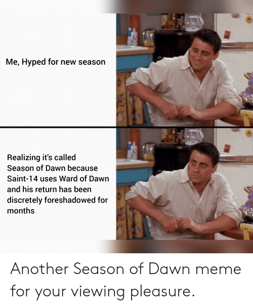 Destiny, Meme, and Dawn: Me, Hyped for new season  Realizing it's called  Season of Dawn because  Saint-14 uses Ward of Dawn  and his return has been  discretely foreshadowed for  months Another Season of Dawn meme for your viewing pleasure.