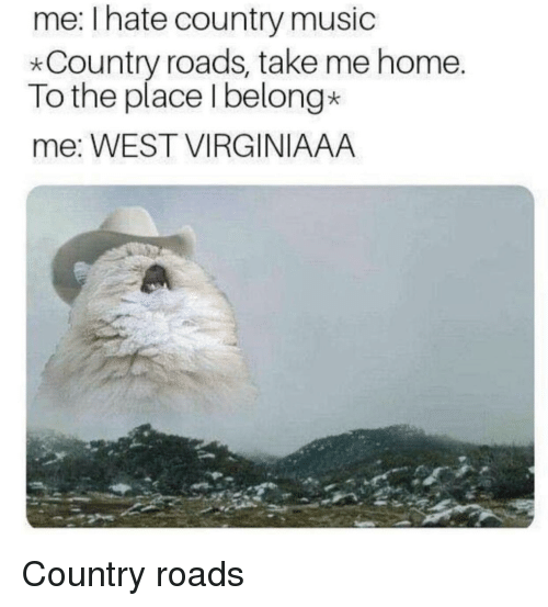 Music, Country Music, and Home: me: I hate country music  *Country roads, take me home.  To the place Ibelong*  me: WEST VIRGINIAAA Country roads