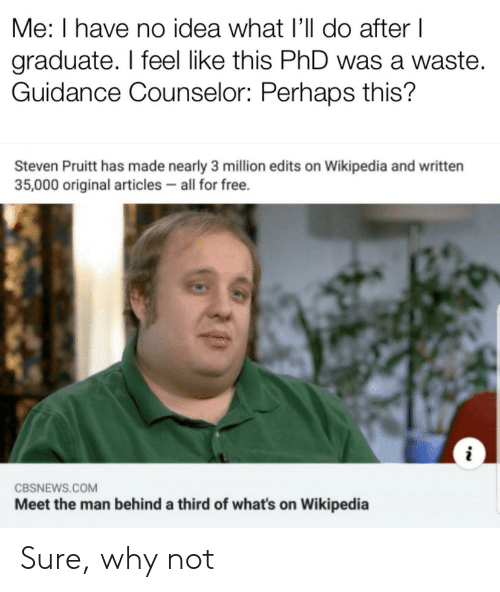 articles: Me: I have no idea what I'll do after I  graduate. I feel like this PhD was a waste.  Guidance Counselor: Perhaps this?  Steven Pruitt has made nearly 3 million edits on Wikipedia and written  35,000 original articles all for free.  CBSNEWS.COM  Meet the man behind a third of what's on Wikipedia Sure, why not