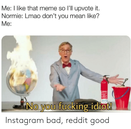 Bad, Fucking, and Instagram: Me: I like that meme so l'll upvote it.  Normie: Lmao don't you mean like?  Me:  No you fucking idiot! Instagram bad, reddit good