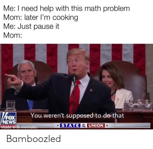 News, Fox News, and Help: Me: I need help with this math problem  Mom: later I'm cooking  Me: Just pause it  Mom:  You weren't supposed to do that  FOX  NEWS  Inmade with mematic  STATE  UNION Bamboozled