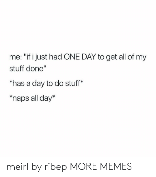 "Stuff: me: ""if i just had ONE DAY to get all of my  stuff done""  *has a day to do stuff*  *naps all day* meirl by ribep MORE MEMES"