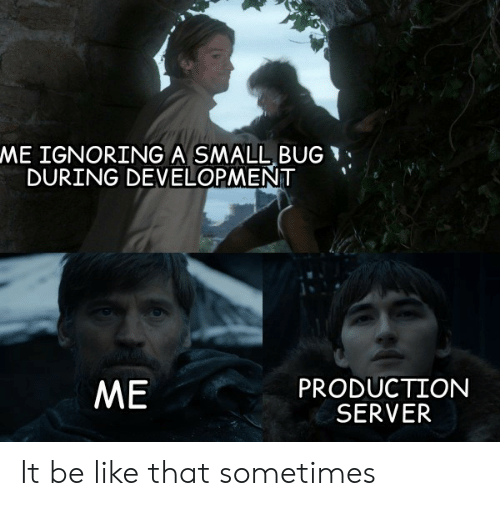 Be Like, Server, and Bug: ME IGNORING A SMALL BUG  DURING DEVELOPMENT  PRODUCTION  SERVER  ME It be like that sometimes