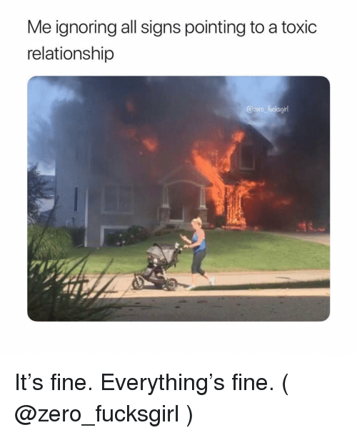 Zero, Girl Memes, and Signs: Me ignoring all signs pointing to a toxic  relationship  @zaro fucksgirl It's fine. Everything's fine. ( @zero_fucksgirl )