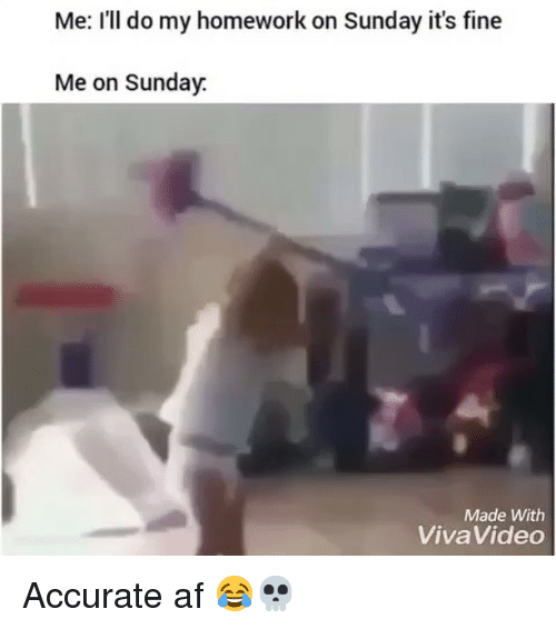 Af, Funny, and Homework: Me: I'll do my homework on Sunday it's fine  Me on Sunday  Made With  VivaVideo Accurate af 😂💀