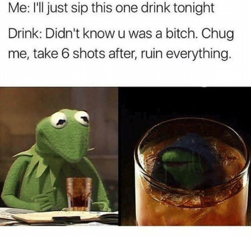 take 6: Me: I'll just sip this one drink tonight  Drink: Didn't know uwas a bitch. Chug  me, take 6 shots after, ruin everything.