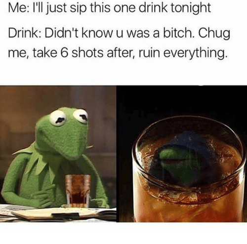 take 6: Me: I'll just sip this one drink tonight  Drink: Didn't know u was a bitch. Chug  me, take 6 shots after, ruin everything.