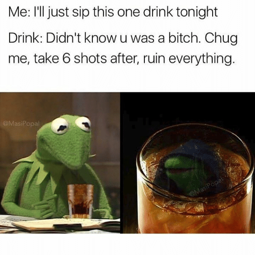take 6: Me: I'll just sip this one drink tonight  Drink: Didn't know u was a bitch. Chug  me, take 6 shots after, ruin everything.  @Masi Popal