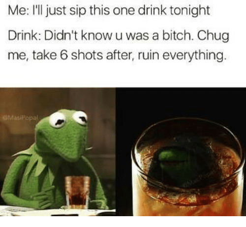 take 6: Me: I'll just sip this one drink tonight  Drink: Didn't know u was a bitch. Chug  me, take 6 shots after, ruin everything