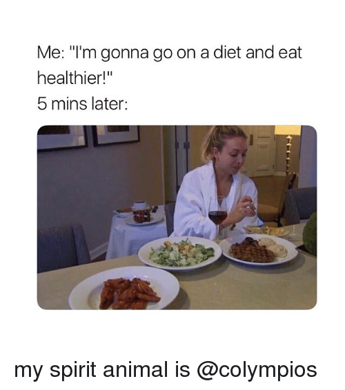 """Animal, Spirit, and Girl Memes: Me: """"I'm gonna go on a diet and eat  healthier!""""  5 mins later: my spirit animal is @colympios"""