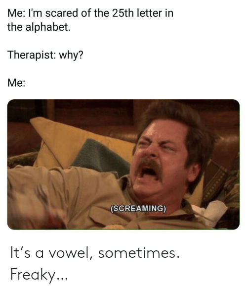 Alphabet, Why, and Scared: Me: I'm scared of the 25th letter in  the alphabet.  Therapist: why?  Me:  (SCREAMING) It's a vowel, sometimes. Freaky…