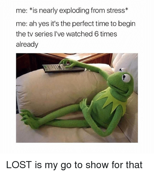 Memes, Lost, and Time: me.*is nearly exploding from stress*  me: ah yes it's the perfect time to begin  the tv series l've watched 6 times  already LOST is my go to show for that