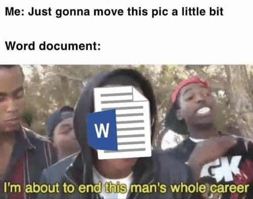 Memes, Word, and 🤖: Me: Just gonna move this pic a little bit  Word document:  I'm about to end this man's whole career