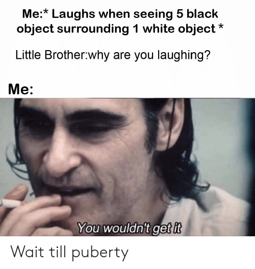 Little Brother: Me:* Laughs when seeing 5 black  object surrounding 1 white object  Little Brother why are you laughing?  Me:  You wouldn't get it Wait till puberty