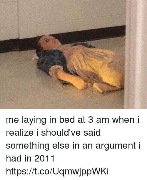 Funny, Something Else, and Argument: me laying in bed at 3 am when i realize i should've said something else in an argument i had in 2011 https://t.co/UqmwjppWKi