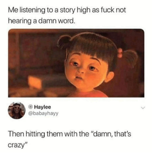 "Crazy, Memes, and Fuck: Me listening to a story high as fuck not  hearing a damn word  Haylee  @babayhayy  Then hitting them with the ""damn, that's  crazy"""