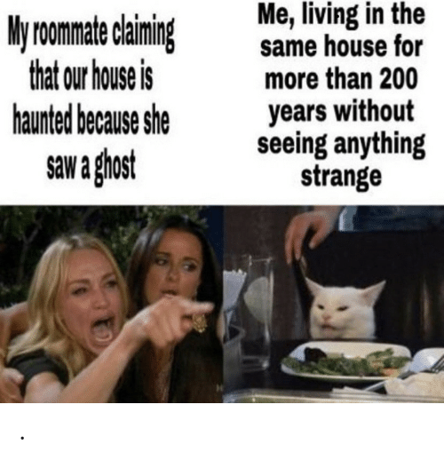 Saw, Ghost, and House: Me, living in the  same house for  more than 200  years without  seeing anything  strange  My roomate claiming  that our house is  haunted because she  saw a ghost .