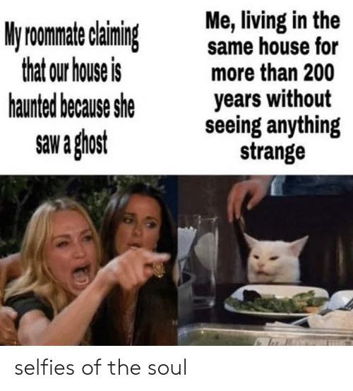 selfies: Me, living in the  same house for  more than 200  years without  seeing anything  strange  My roomate claiming  that our house is  haunted because she  saw a ghost selfies of the soul