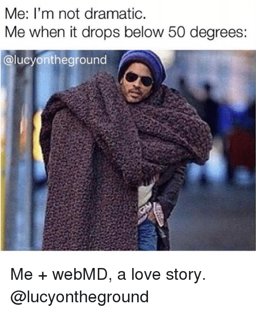 Love, webMD, and Girl Memes: Me: l'm not dramatic  Me when it drops below 50 degrees:  @lucyontheground Me + webMD, a love story. @lucyontheground