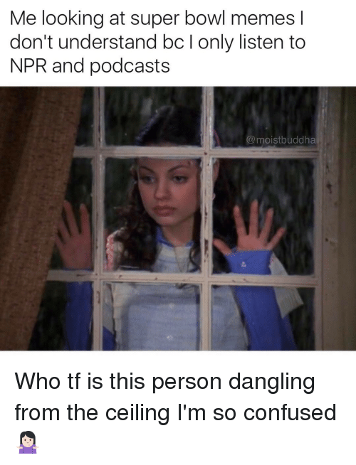 Funny, Npr, and Podcast: Me looking at super bowl memes l  don't understand bclonly listen to  NPR and podcasts  moistbuddha Who tf is this person dangling from the ceiling I'm so confused 🤷🏻‍♀️