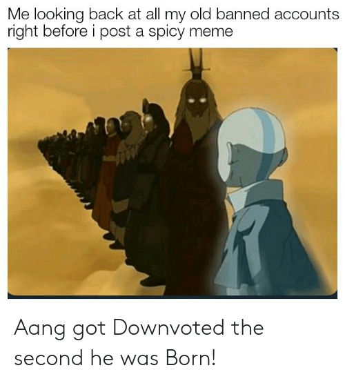 Aang: Me looking back at all my old banned accounts  right before i post a spicy meme Aang got Downvoted the second he was Born!