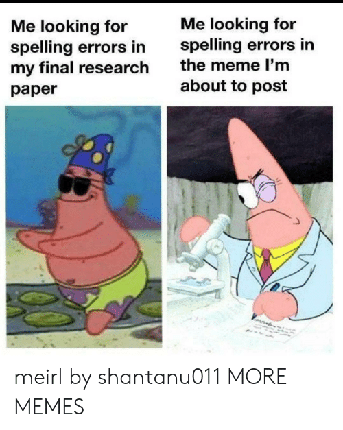Dank, Meme, and Memes: Me looking for  spelling errors in  Me looking for  spelling errors in  my final research  the meme I'm  about to post  paper meirl by shantanu011 MORE MEMES