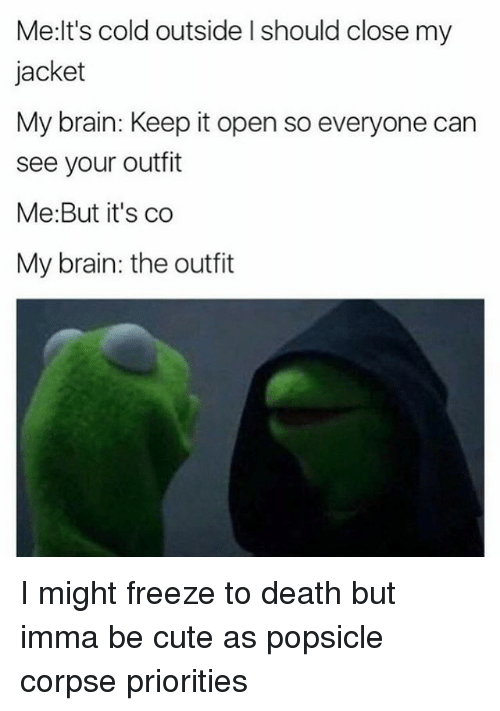 Cute, Brain, and Death: Me:lt's cold outside l should close my  jacket  My brain: Keep it open so everyone can  see your outfit  Me:But it's co  My brain: the outfit I might freeze to death but imma be cute as popsicle corpse priorities