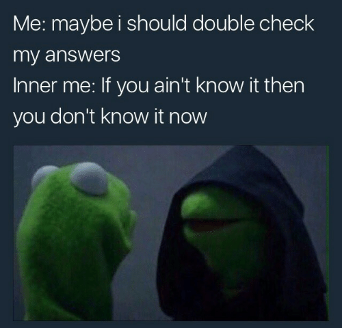 Me Maybe: Me: maybe i should double check  my answers  Inner me: If you ain't know it then  you don't know it now