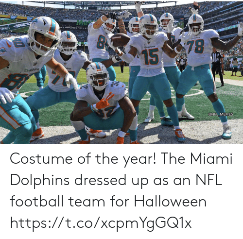 miami: Me  MIAS  Doline  78  Dolphins  15  Dofphins  @NFL MEMES Costume of the year! The Miami Dolphins dressed up as an NFL football team for Halloween https://t.co/xcpmYgGQ1x