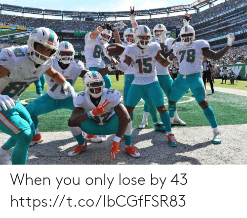 Football, Nfl, and Sports: Me  MIASE  78  Dolphins  15  Dophing  @COMEDICNFL When you only lose by 43 https://t.co/lbCGfFSR83